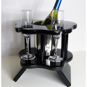 Two Glass Champagne Table - Black