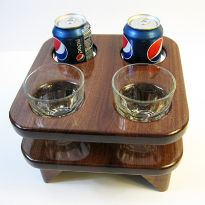 Rock Glass Table Walnut