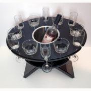 Twelve glass table in black