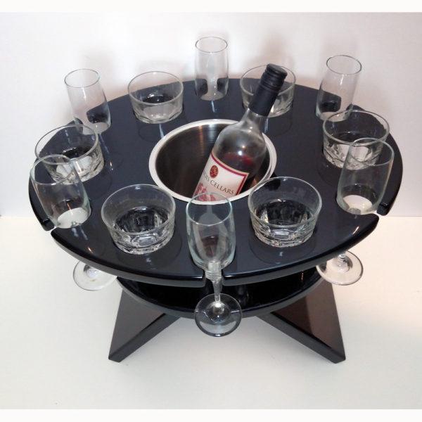 Black lacquer twelve glass table