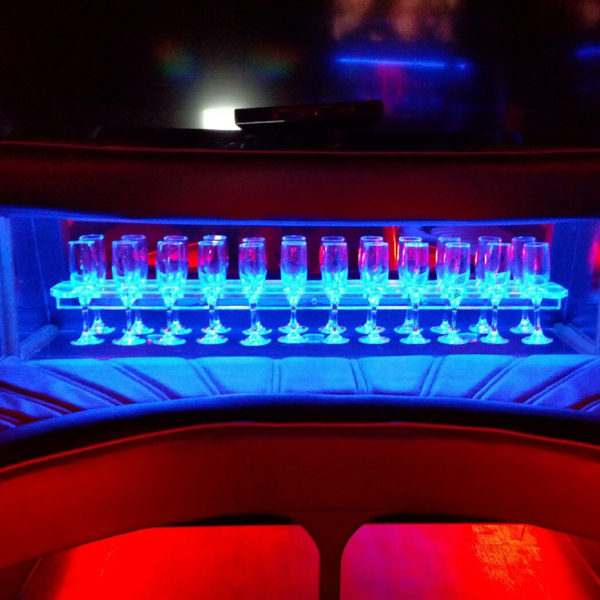 Finished drink rack shown in a limousine