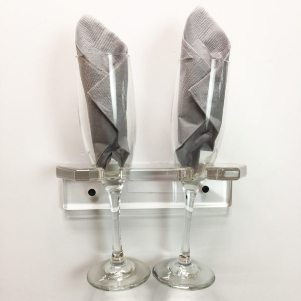 Plastic glass rack for two stemware