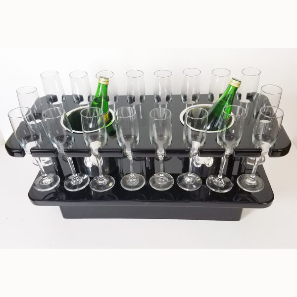 Flute glass storage table with two ice buckets