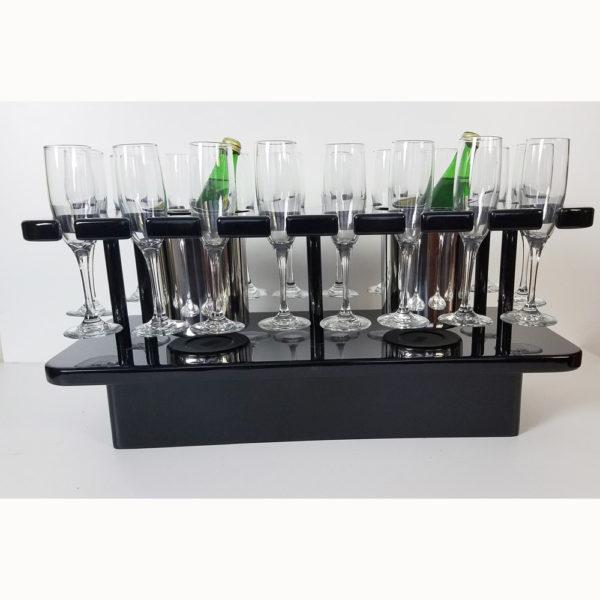 black lacquer glass storage service table